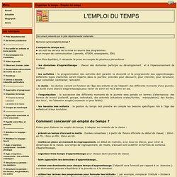 le site Maternelle 88 - Organiser le temps - Emploi du temps