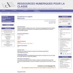 Comptines en anglais Maternelle - RESSOURCES NUMERIQUES POUR LA CLASSE