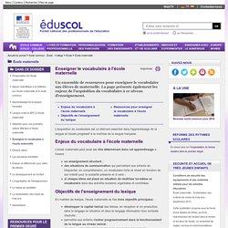 Prévention de l'illettrisme à l'école - Vocabulaire à l'école maternelle