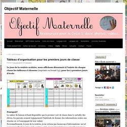 Tableau d'organisation pour les premiers jours de classe - Objectif MaternelleObjectif Maternelle