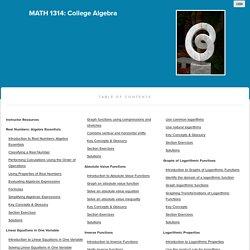 MATH 1314: College Algebra