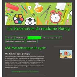 SAÉ Math 3e cycle - Site de ressourcesnancy !