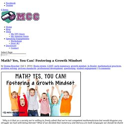 Math? Yes, You Can! Fostering a Growth Mindset