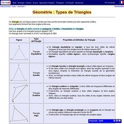 Math - Géométrie : Types de Triangles