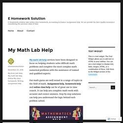 My Math Lab Help – E Homework Solution