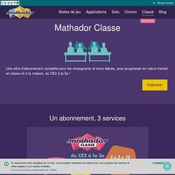 Mathador Classe: Mathador Classe est une offre d'abonnement annuel associant 3 services : Pour chaque élève, un compte donne un accès illimité aux jeux Chrono et Solo, en classe comme la maison, depuis un ordinateur, une tablette ou un smartphone ; Pour l
