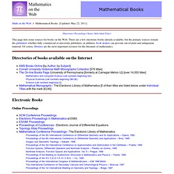 Mathematics on the Web: Books
