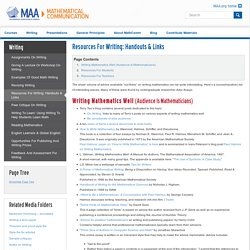 Resources for writing: handouts & links « MAA Mathematical Communication