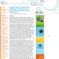Number Sense: Rethinking Arithmetic Instruction for Students with Mathematical Disabilities