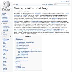 Mathematical and theoretical biology