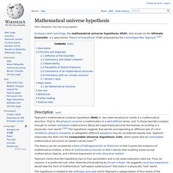 Mathematical universe hypothesis