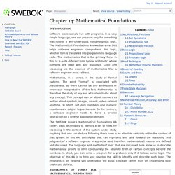Chapter 14: Mathematical Foundations - SWEBOK