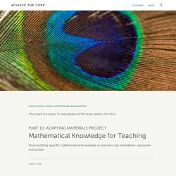 Mathematical Knowledge for Teaching