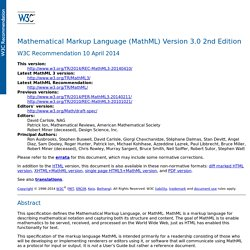 Mathematical Markup Language (MathML) Version 3.0 2nd Edition