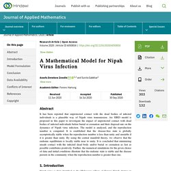 JOURNAL OF APPLIED MATHEMATICS 30/09/20 A Mathematical Model for Nipah Virus Infection