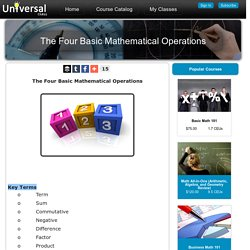 The Four Basic Mathematical Operations