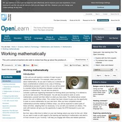 Working mathematically - OpenLearn - Open University - ME620_1