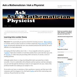 Learning intro number theory | Ask a Mathematician / Ask a Physicist