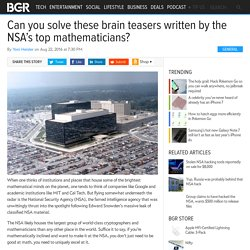 NSA mathematicians write brain teasers every month, can you solve any?