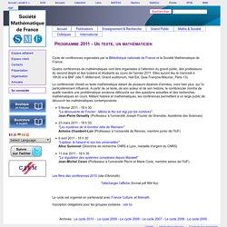 Programme 2011 - Un texte, un mathématicien