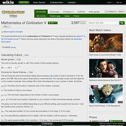 Mathematics of Civilization V