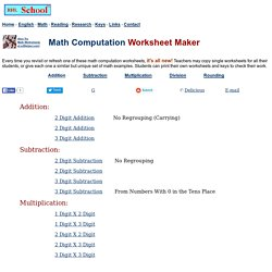 Mathematics Computation - Free Worksheets