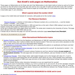 Ron Knott's Mathematics Pages and Contact details