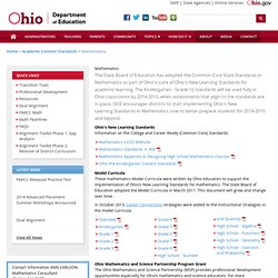 Ohio ODE - Mathematics Common Core State Standards and Model Curriculum