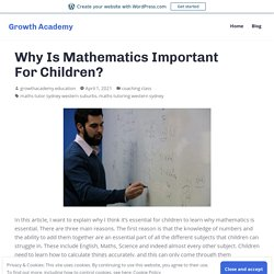 Why Is Mathematics Important For Children? – Growth Academy