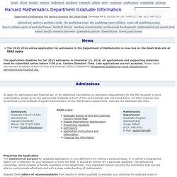 Harvard Mathematics Department : Graduate Information