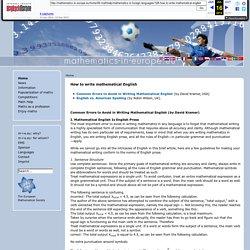 Mathematics In Europe - How to write mathematical English
