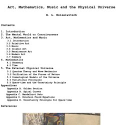Art, Mathematics, Music and the Physical Universe