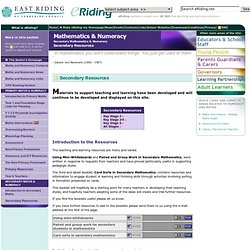 eRiding - Mathematics & Numeracy - Secondary Mathematics & Numeracy - Secondary Resources