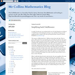 Mr Collins Mathematics Blog: Simplifying Surds Task/Resource