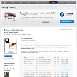 Daring to do mathematics - Download Free Content from The Open University on iTunes