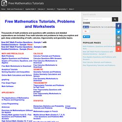 Free Mathematics Tutorials, Problems and Worksheets (with applets)