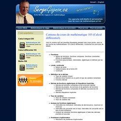 Cours privés de mathématique 103 (Calcul différentiel) - Serge Gagnon