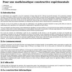 Pour une mathématique constructive expérimentale