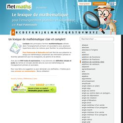 Accueil - Lexique de Mathématique, par Paul Patenaude - Netmaths