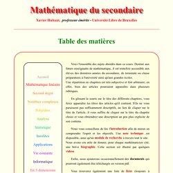 Table des matières - Mathématique du secondaire - X.Hubaut ULB