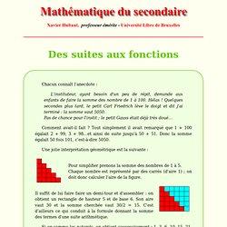 Des suites aux fonctions - Analyse - Mathématique du secondaire - X.Hubaut ULB