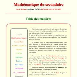 Mathématique du secondaire - Sommaire - X.Hubaut ULB