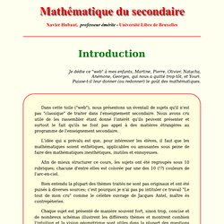 Introduction - Mathématique du secondaire