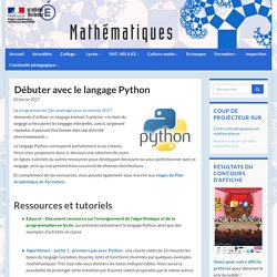 Débuter avec le langage Python - Mathématiques - Académie de Bordeaux