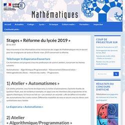 Stages «Réforme du lycée 2019» - Mathématiques - Académie de Bordeaux