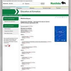 Mathématiques appliquées20S - Programme d'études: document de mise en œuvre