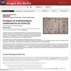 Pratiques et mathématiques combinatoires en Chine (2)