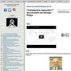 Cours de mathématiques de 4e - conseils de George Polya