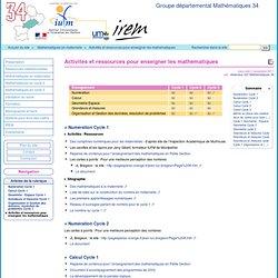 Activités et ressources pour enseigner les mathématiques - Groupe départemental Mathématiques 34