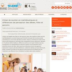 Climat de soutien en mathématiques et différences de perception des élèves, filles et garçons